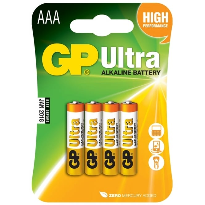 GP Batteries Alkaline batteries, AAA, 1.5V, packed 4/ blister