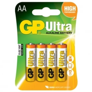 GP Alkaline batteries, AA, 1.5V, packed 4 /blister